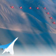 Concord flying with the Red Arrows